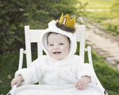 First Birthday Max Where the Wild Things Are Felt Mini Crown Headband, Gold Mustard Yellow, Fur, Cake Smash Photo Prop Pictures, One, Party