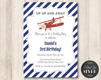 Printable Vintage Airplane Birthday Invitation, Up Up and Away, Red and Blue, Aeroplane, Printable Invites, 5x7 JPG
