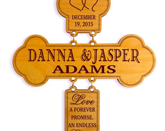Custom Wedding Couple Gift, Marriage Blessing Decorative Cross, Gift to a Wedding Couple, 1st Anniversary Gift, Wedding, New Weds,New Couple