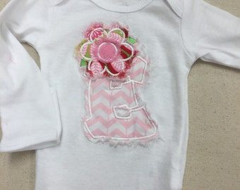 Onesie with Applique initial and flower