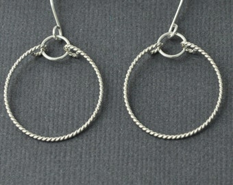 Sterling Silver Circle Earrings, Silver Hoop Earrings, Textured Earrings
