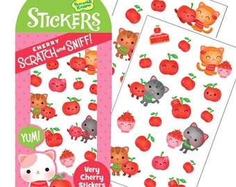 Very Cherry Scratch and Sniff Stickers, Peaceable Kingdom Scented Stickers Cute Stickers Smelly Sticker Children Kids Valentine