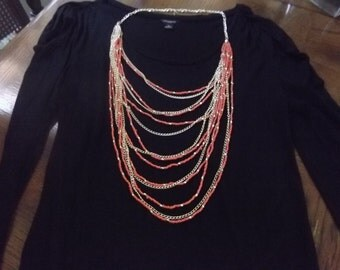 Multi chain cascade layer necklace orange and gold beads
