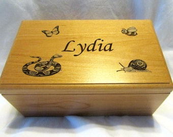 Large Personalized Keepsake Box - Engraved Name & Images