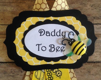 Bumble Bee Daddy To Be Corsage Yellow & Black Bumble Bee Theme Baby Shower Corsage Badge