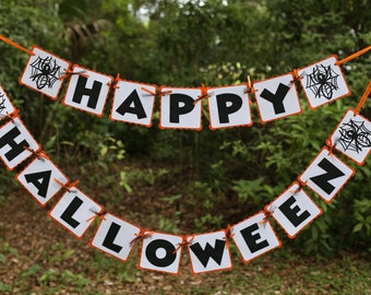 "Halloween Black Widow Spider - ""Happy Halloween"" banner - READY TO SHIP - Orange, White and Black"