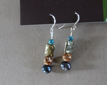 Gold and turquoise multi beaded earrings