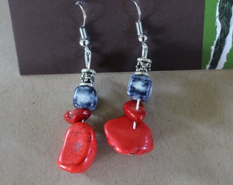 Red turquoise and blue beaded earrings