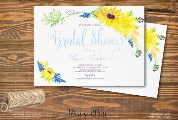 Sunflower bridal shower invitation watercolor sunflower invitation il570xn filmwisefo