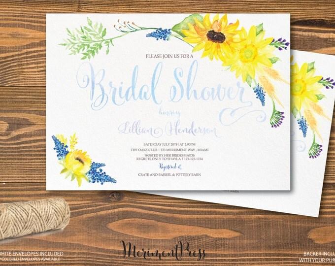 Sunflower Bridal Shower Invitation, Watercolor Sunflower Invitation, Calligraphy Bridal Invitation, Yellow, Blue - TUSCANY