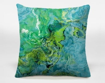 Accent pillow with abstract art, 14x20, 16x16, 18x18, 20x20 in aqua and green, decorative pillow, throw pillow, Poolside