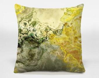 Toss pillow with abstract art, 14x20, 16x16, 18x18, 20x20, yellow and sage decorative pillow, throw pillow, accent pillow, Fluid Mechanics