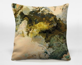 Throw pillow with abstract art, 14x20, 16x16, 18x18, 20x20 brown, olive and beige decorative pillow cover, accent pillow cover, Out of It