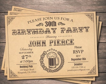 Beer birthday invitation. Vintage man adult birthday beer party invite. 21st 30th 40th 50th 60th birthday printable digital DIY invite AB063