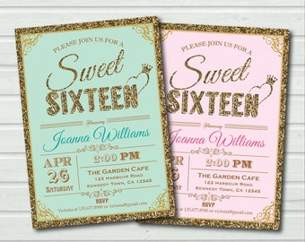 Pink and Gold Sweet Sixteen Invitation. Sequin sweet 16 birthday invite. Mint or soft pink. Gold glitter sparkling printable invite SS054