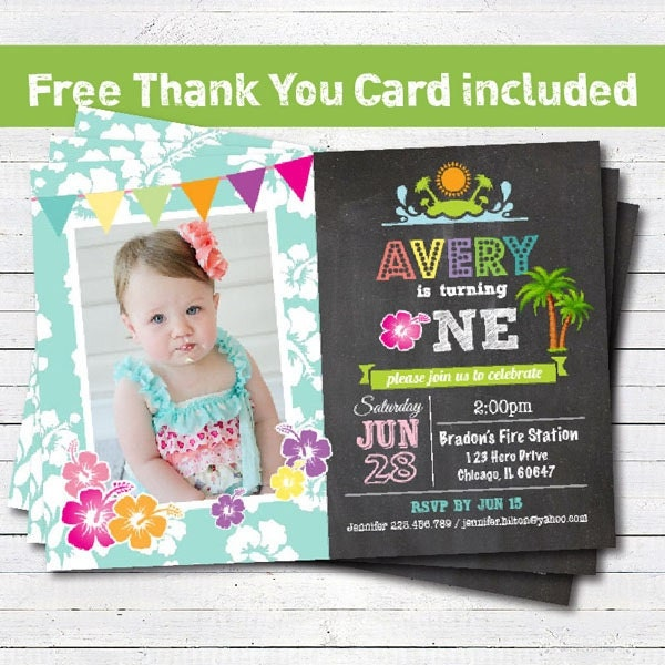 luau birthday invitation. baby girl 1st first birthday, Birthday invitations