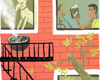 Books I read in New York.  A giclee print of an original illustration.