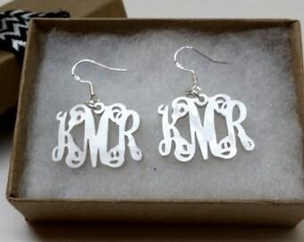 White Pearl Acrylic Monogram Earrings