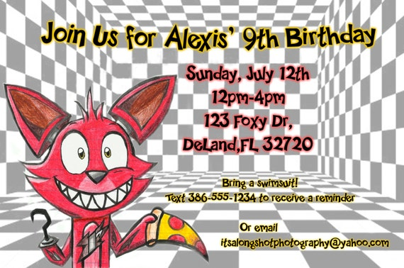 Items similar to FNAF Foxy Birthday Invitation on Etsy
