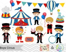 Instant Download Circus Digital Clip Art, Circus Clipart, Boys Circus Digital Clip Art, Carnival Clipart, Baby Boy Circus Party, 00194