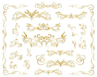 GOLD Digital Flourish Swirl Frame Clip Art Gold Frame Clipart Gold Border Clipart Gold Digital Scrapbooking Decorative Embellishment 0129