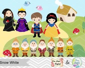 Snow White Clipart Snow White Digital Clip Art, Princess Snow White Prince Charming, 7 Dwarves, Evil Queen, Fairytale Princess Clipart 00195