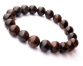 10mm Bronzite Bracelet, Brown Mens Bracelet, Brown Jewelry Mens, Brown Gemstone Bracelet Men, Mens Beaded Bracelet, Brown Mala Beads Jewelry