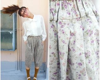 1980 Vintage Pants/ Art Class Capri Pants/ Small Capri/ Medium Capri/ Floral Capri Pants/ Vintage Trousers/ Floral Trousers/ Preppy Capri