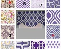 Purple curtain window valance,decorative valance, window curtain purple, scallop style. purple, lined  purple valance