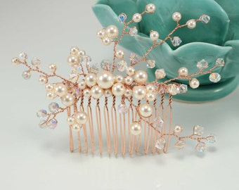 Rose gold Bridal Comb Wedding comb Swarovski pearls and crystals Wedding hair vintage hair accessories bridesmaids hair comb