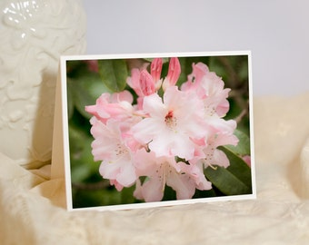 Floral Photography Greeting Card - Flower Photo Note Card - Nature Photography - Pink Flowers - Rhododendron - Blank or Personalize Card