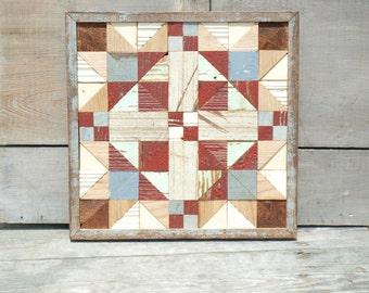 rustic quilt block, geometric quilt, rustic wall decor,