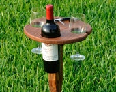 Folding outdoor wine table with carry handle (Oak)