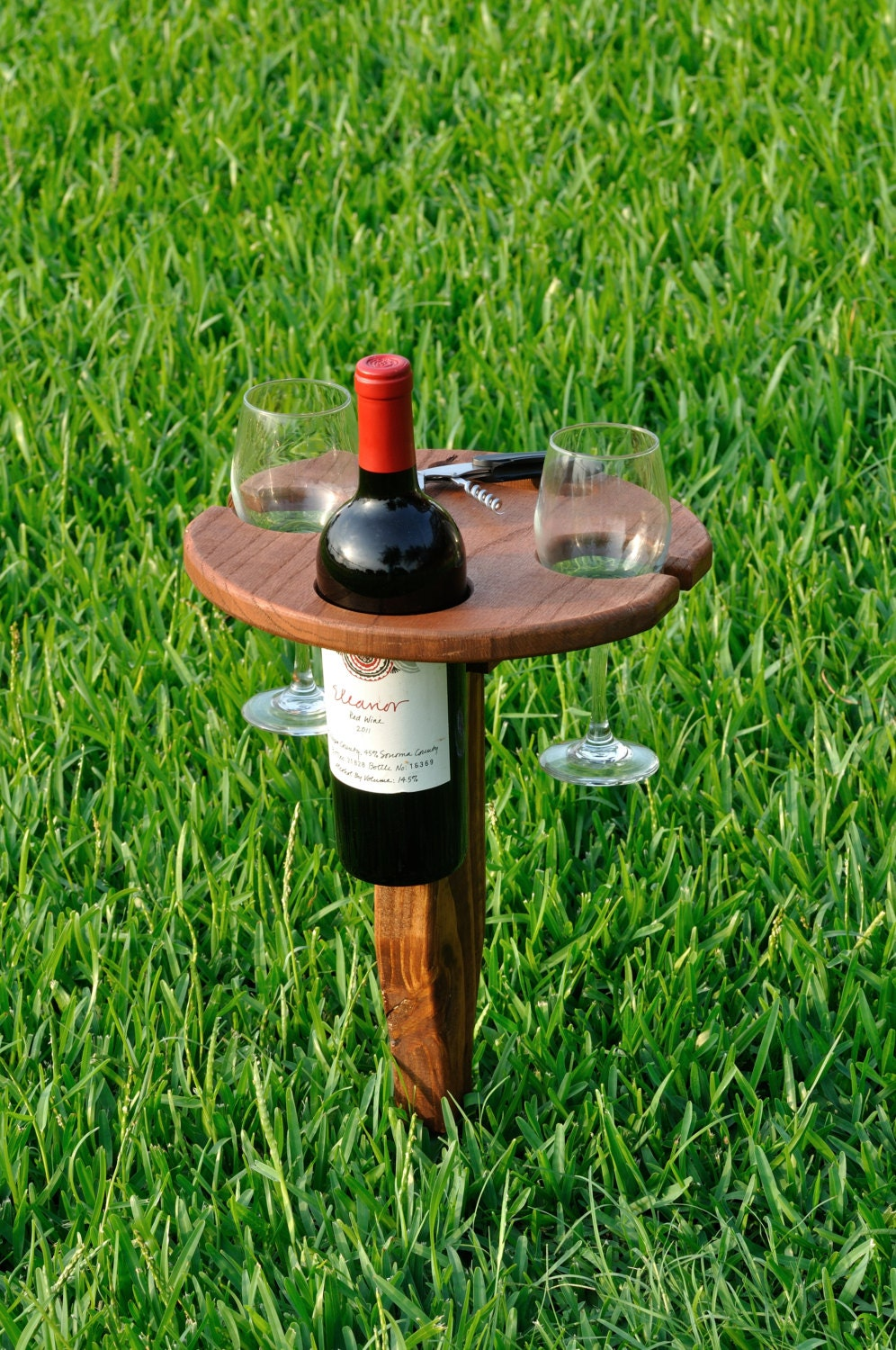 Folding Outdoor Wine Table With Carry Handle Oak
