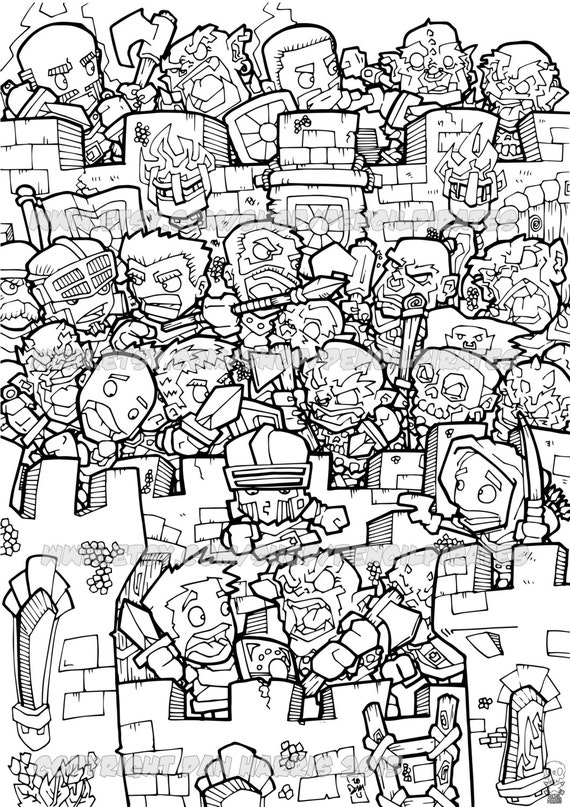 Orc Castle Siege Colouring Page Adult Book