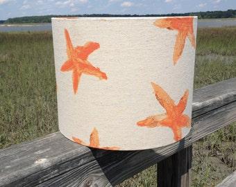 Linen Drum Lamp Shade with Orange Starfish Motif