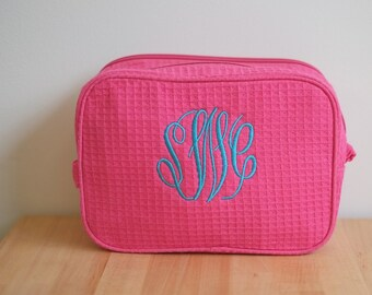 Monogrammed Cotton Waffle Cosmetic Bag