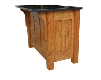 """30""""x48"""" Mission Style Kitchen Island with Granite Top"""