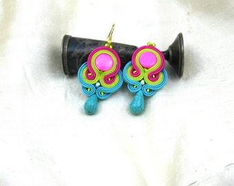 Soutache Earrings  ,soutache jewelry in ethnic, handmade earrings, colorful earrings, soutache,braid