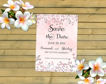 Wedding Save The Date Announcement Invitation Card Pink Leaves Floral Flowers in Watercolors by MaryAnnColors