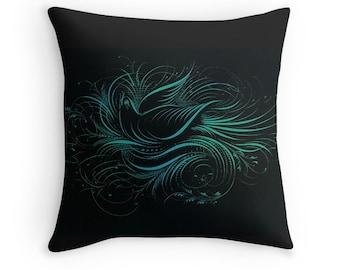 Dark Decor, Black Cushion, Black and Blue, Black Pillows, Bird Decor, Bird Cushion, Doves, Victorian Decor, Dark Throw Pillow