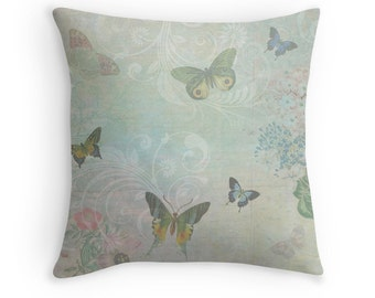 Home Decor, Pastel Cushion, Butterfly Pillow, Butterflies Cushion, Pastel Blue Cushion, Pretty Pillow, Shabby Chic Cushion, Cushion for Girl