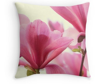 Flower Pillow, Magnolia Flowers, Pink Cushion, Pink and White Decor, Flower Decor, Floral Cushion, Pretty Pillow, Magnolia Tree