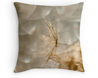 Dandelion Cushion, Dandelion Pillow, Neutral Decor, Macro Photography, Abstract Cushion, Dandelion Decor, Garden Decor, Water Drop Cushion