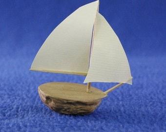 Walnut Model Sailboat, Bermuda Sloop
