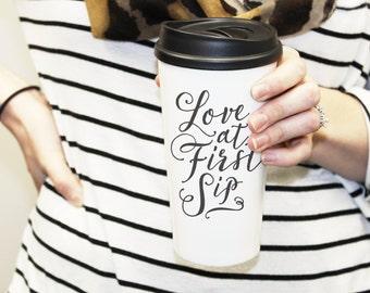 Love At First Sip Ceramic Tumbler