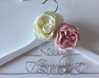 Personalised Bridal Hanger - Wedding Hanger - Prom Dress Hanger - with peonies - 2 Row & 2 Peonies