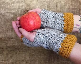 Grey Tweed & Autumn Yellow Wristwarmers