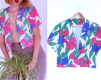 Vintage Clothing - tropical flowers blazer1980s