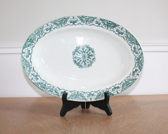 Serving Platter, Large 1900s, Oval Platter,Green Transferware, Antique White Ironstone, Earthenware, Rustic Dining Table, Farmhouse Antiques